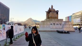 Foto di depan Raja Sejong Agung, Gwanghwamun Square