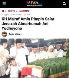 KH Maruf Amin pimpin salat jenazah Ani Yudhoyono, Viva