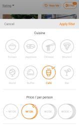 pilih jenis cuisine, price, dll