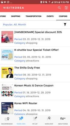Menu Kupon voucher di visitkorea